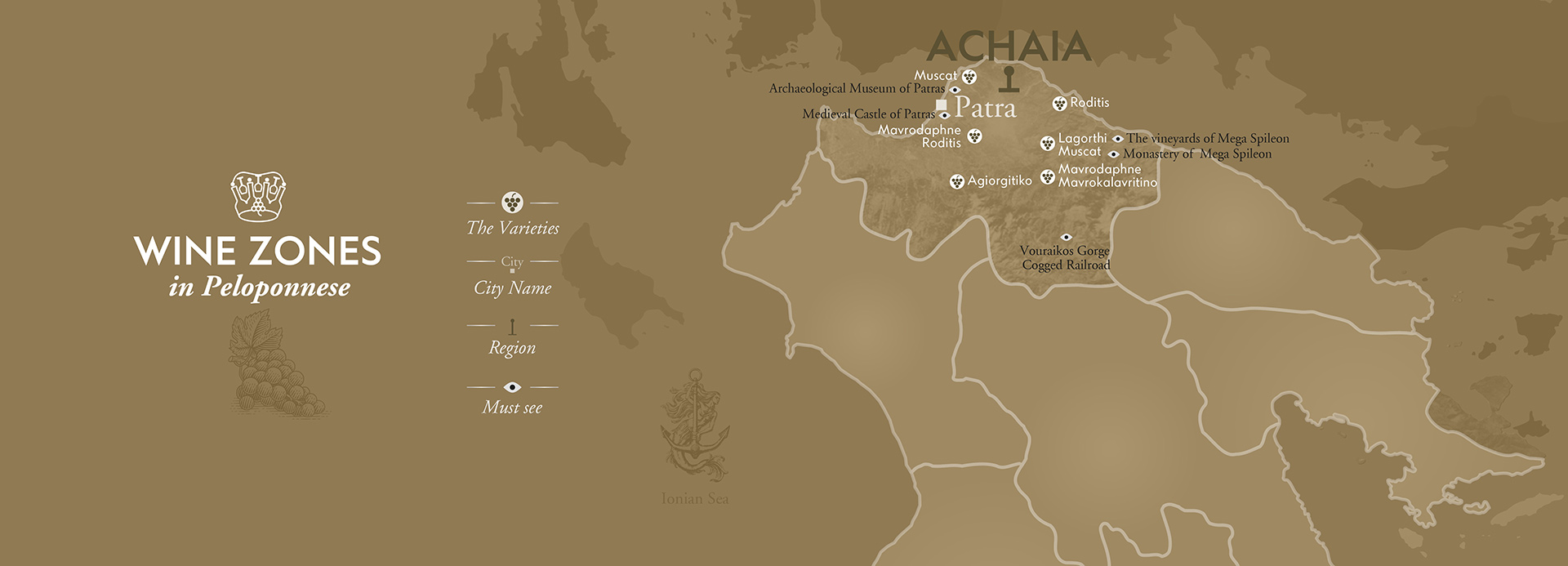 Achaia Wineries Map by The Wine Connoisseurs