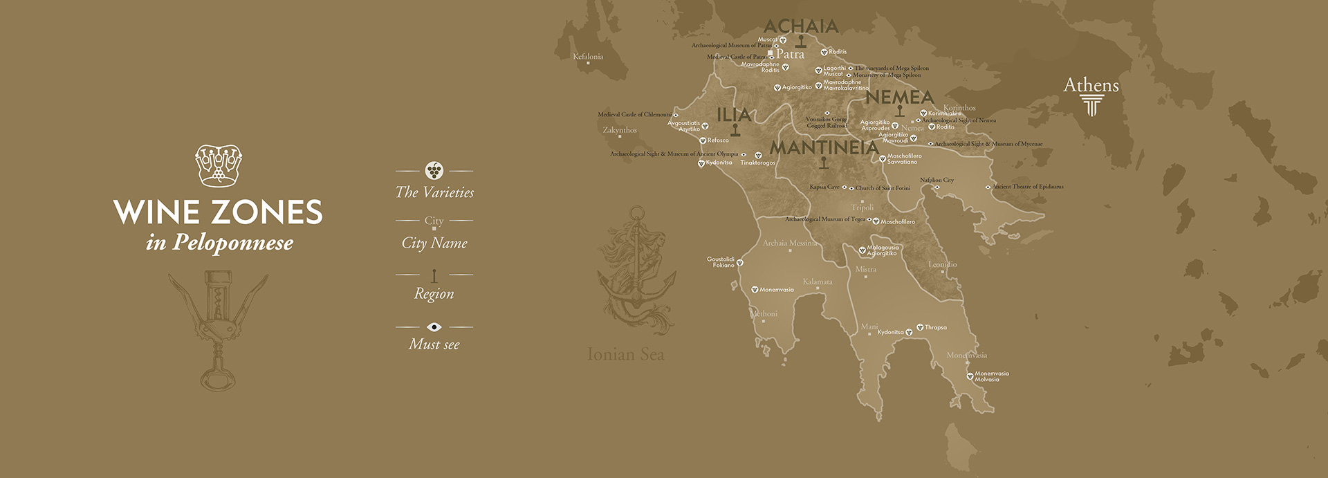 Pelopponese Greece Wineries Map by The Wine Connoisseurs